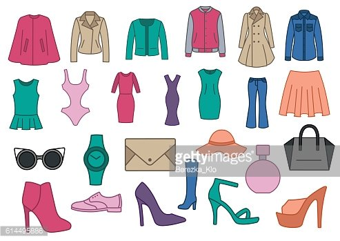 Set of fashion clothes. Fashionable clothes, shoes and accessori