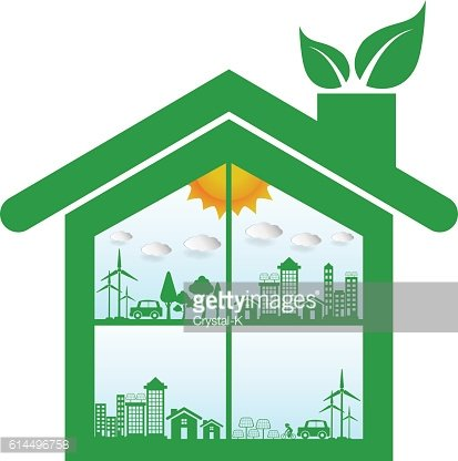Ecology connection house concept background . Vector infographic