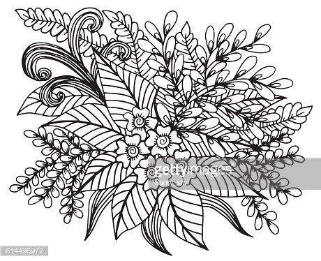 Hand drawn floral doodle. Coloring pages for book.