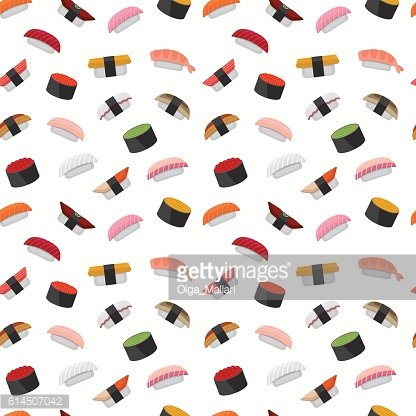 Seamless pattern for sushi menu. Japanese cuisine background.