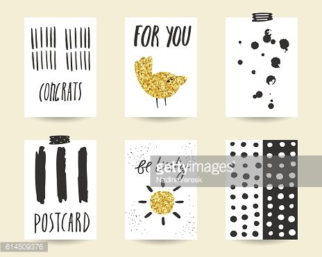 Cute doodle black and gold party, baby shower cards