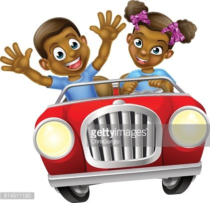 Cartoon Boy and Girl Driving Car