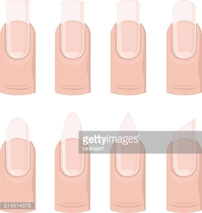 Vector set of different nails shape, manicure style