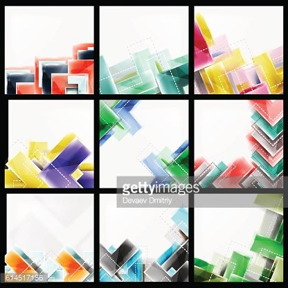 Vector geometric glass background set
