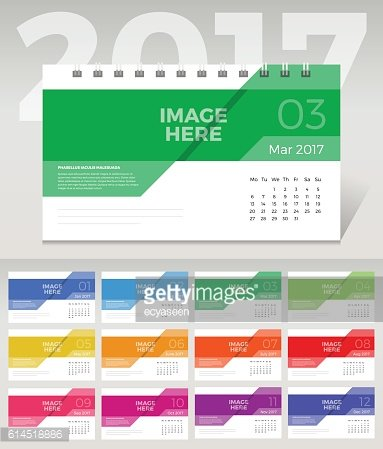 Desk Calendar. Simple Colorful flat minimal elegant desk calendar template