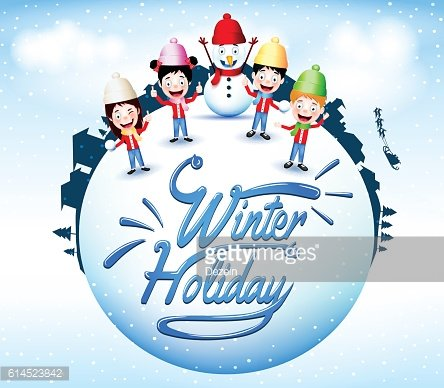 Winter Holiday With Happy Children And Snowman