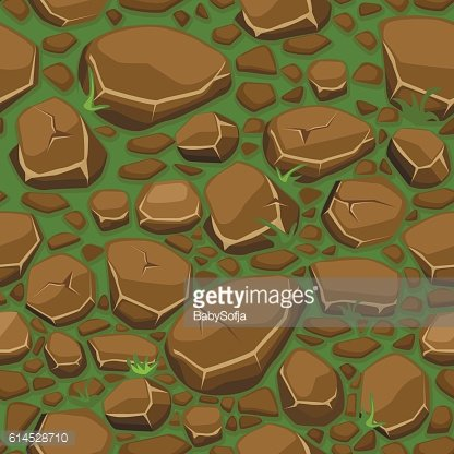 Cartoon stone on grass texture in brown colors seamless background