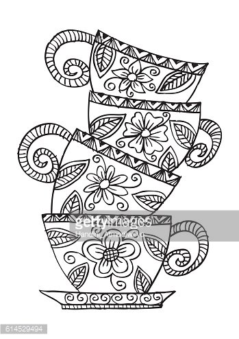 Coffee cups. Decorative style