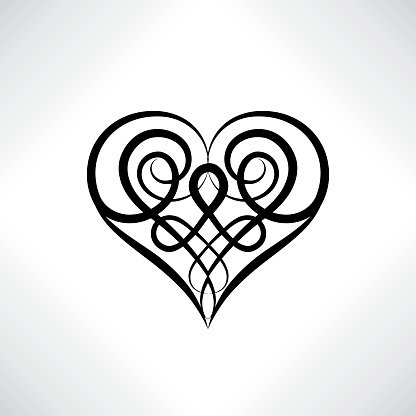 Heart shape symbol isolated. Love amulet in Celtic style.