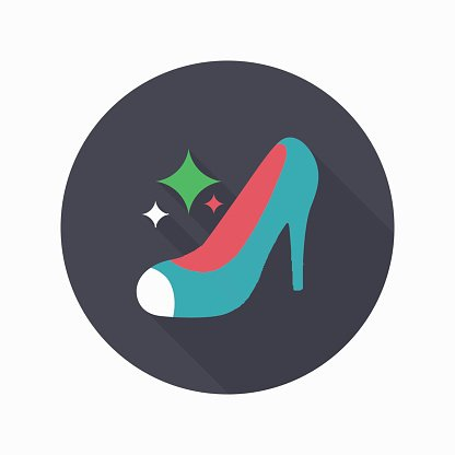 High-heeled shoe icon, Vector flat long shadow design.