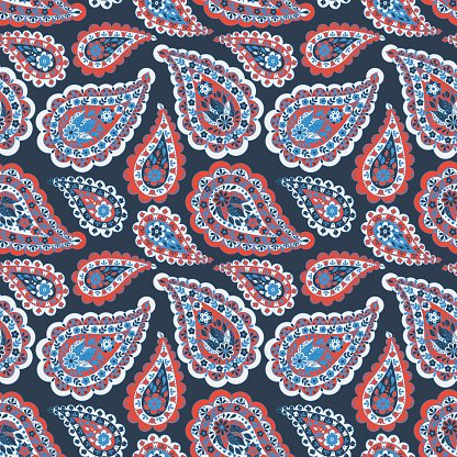 Paisley seamles background. Colorful vector pattern