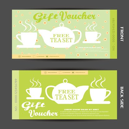 Vector blank of gift voucher on the green background to