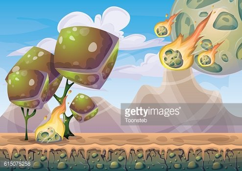 cartoon vector landscape with meteor background with separated layers