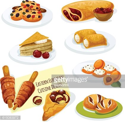 Eastern european cuisine pastry desserts icon