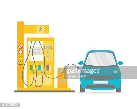 Gas Station Flat. Vector