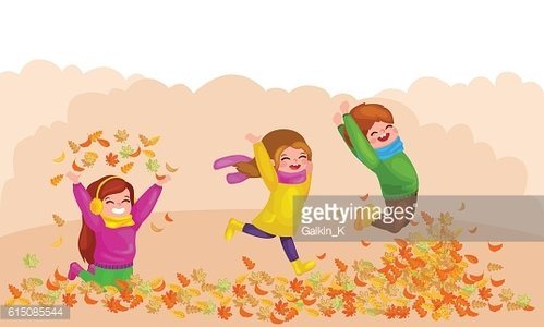 Kids playing with autumn leaves. hello autumn illustration
