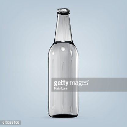 Realistic isolated blank white bottle of beer