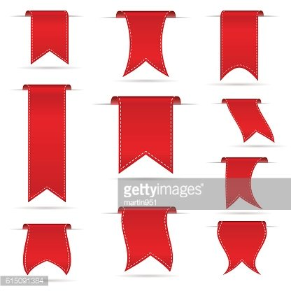 red hanging curved ribbon banners set eps10