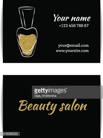 Gold glitter texture nail art buisness card