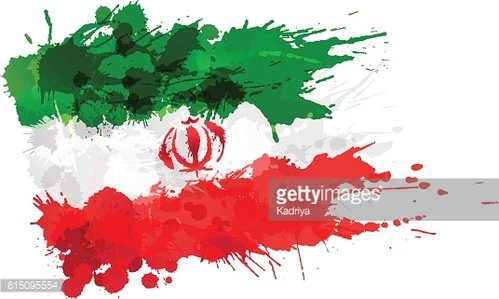 Flag of Iran made of colorful splashes