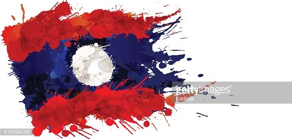 Flag of Laos made of colorful splashes