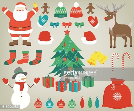 Christmas set with decoration elements. Hand drawn. Vector