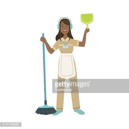 Hotel Professional Maid With Dustpan And Broom Illustration