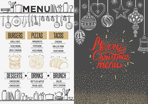 happy new year party invitation restaurant christmas food menu