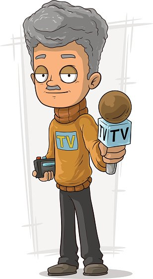 Cartoon TV journalist with microphone and recorder
