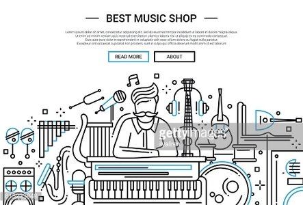 Best Music Shop - website header banner template