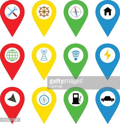 Navigation icons in bright flat style. GPS icons, vector illustration.