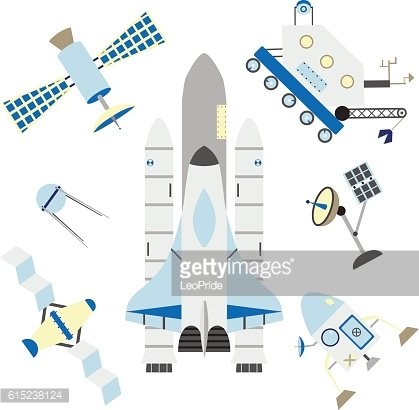Flat isolated space elements. Shuttle, rocket, satellites, antenna and moonwalker.