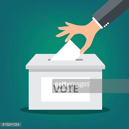 Hand putting paper in the ballot box - vector