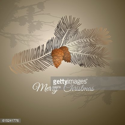 Vector illustration of christmas design pine branch and cones.