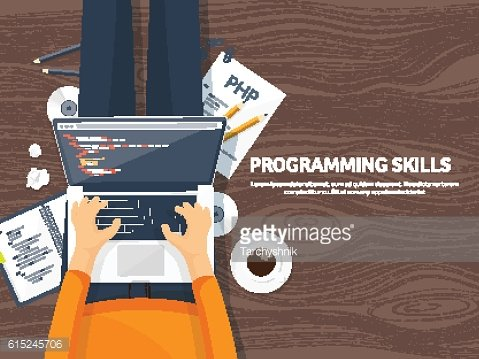 Programming,coding. Flat computing background. Code, hardware,software. Web development