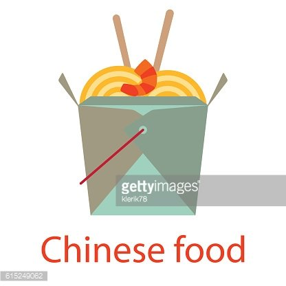 Chinese food. Fastfood and streetfood icon. Vector illustration.