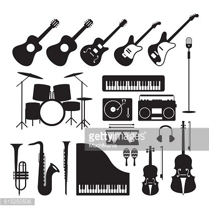 Music Instruments Silhouette Objects Set