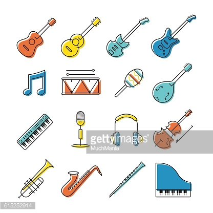 Music Instruments Objects Icons Set, Line Design