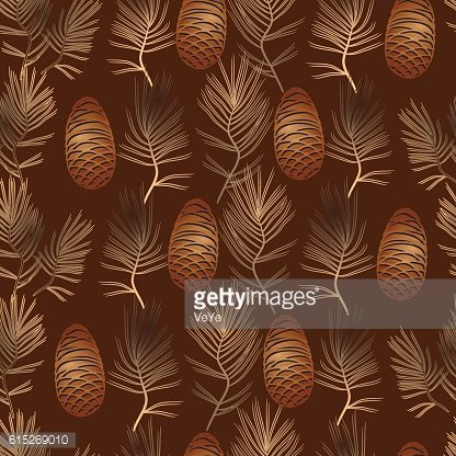 Vector xmas seamless pattern with golden pine cone and branch.