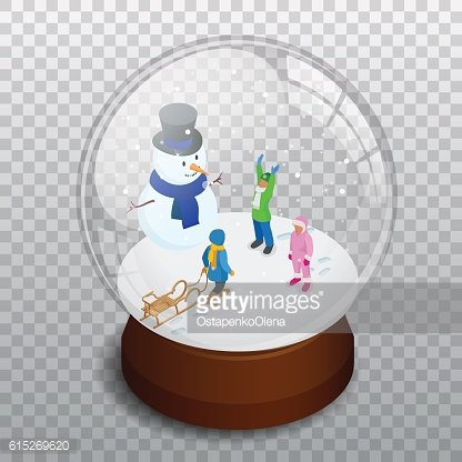 Isometric Merry christmas transparent glass ball