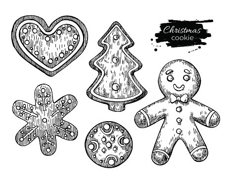 Gingerbread Christmas Cookies Decorated With Icing Hand