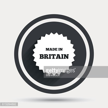 Made in Britain icon. Export production symbol.