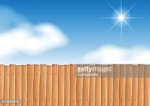 Scene with wooden fence at daytime