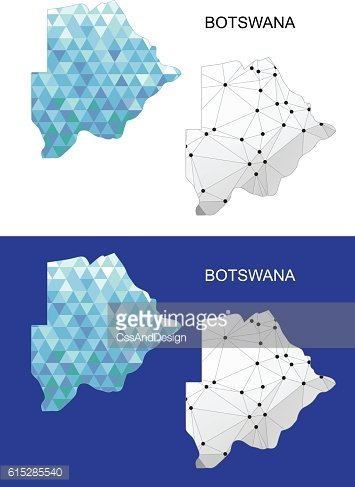 Botswana map in geometric polygonal style. Abstract gems triangle.