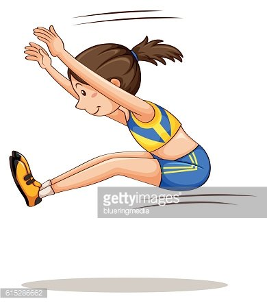 Woman athlete doing long jump