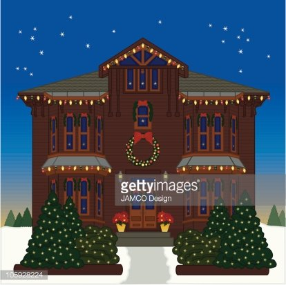 House With Christmas Lights Clipart.Holiday House Premium Clipart Clipartlogo Com