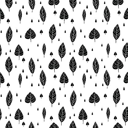 Cute Hand Drawn Leaves Ornament Monochrome Vector Seamless