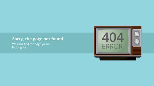 error page not found with old vintage tv television