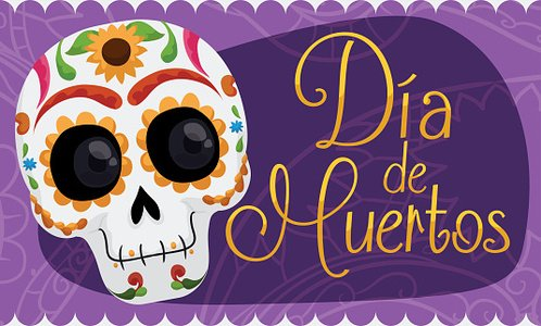 Banner with Smiling Mexican Skull Celebrating 'Dia de Muertos' Clipart Image