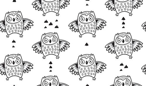Black and white seamless pattern with owls